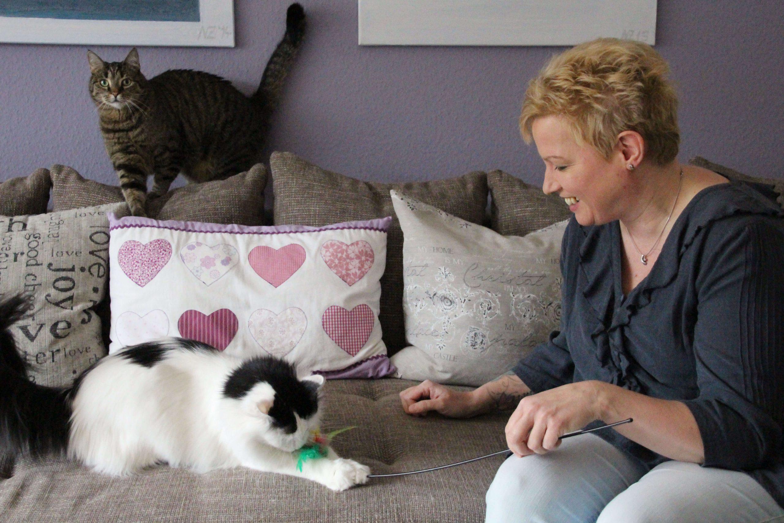 Spielen darf auch sein: Nicole im Dialog mit ihren beiden Katzen